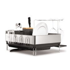 Steel Grey Frame Dish Rack with Wine Glass Holder