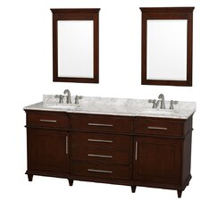"Berkeley 72"" Double Dark Chestnut Bathroom Vanity Set with Mirror"