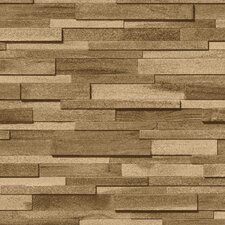 Thin Wood Blocks 10m L x 53cm W Brick, Wood and Stone Roll Wallpaper