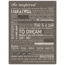 300x400mm Metal Wall Sign - Be Inspired