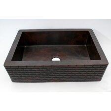 "33"" x 22"" Bricks Apron Single Well Hammered Copper Farmhouse Kitchen Sink"