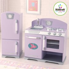 2 Piece Retro Personalized Kitchen and Refrigerator Set
