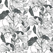 "Black and White Leaf Outline 27' x 27"" Floral and Botanical Roll Wallpaper"