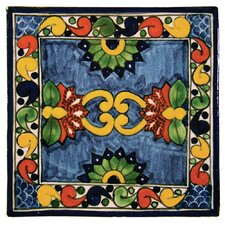 """4"""" x 4"""" Asters Hand Painted Talavera Tile"""