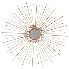 Round Stroked Metal Fancy Leaf Wall Mirror