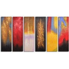 'Shades of Fire' 6 Piece Painting Set on Wrapped Canvas Set