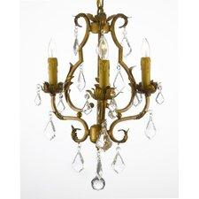 Clemence 3-Light Gold Crystal Chandelier