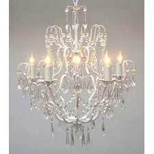 Clemence 5-Light White Hardwired Crystal Chandelier