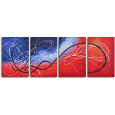 Trail of the Hummingbird' 4 Piece Painting on Wrapped Canvas Set