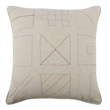 Embroidered Flags Flax Throw Pillow