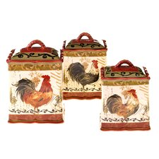 Tuscan Rooster 3 Piece Kitchen Canister Set