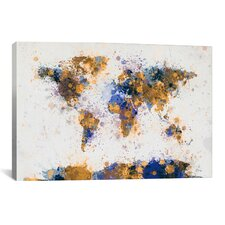 'World Map Paint Drops IV' by Michael Tompsett Graphic Art on Canvas