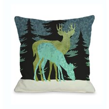 Silent Night Reindeer Throw Pillow