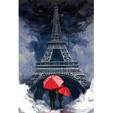 """Rainy Night in Paris"" Graphic Art on Wrapped Canvas"