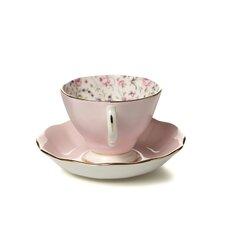 Rose Confetti Formal Vintage Teacup and Saucer
