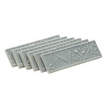 Gilded Meadow Decorative Tile with Platinum Accents (Set of 6)