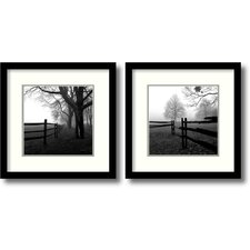 corner fence in the mist by harold silverman 2 piece framed photographic print set