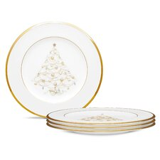 """Palace Christmas Gold 8.5"""" Holiday Accent Plates (Set of 4)"""