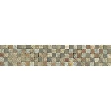 """10.25"""" x 2"""" Stone Mosaic Liner Tile in Amber Gold/Chinese Multicolor"""