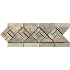 """12"""" x 4.75"""" Stone Mosaic Liner Tile in Amber Gold"""