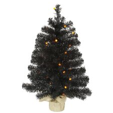 2.5' Black Artificial Christmas Tree with 30 LED Orange Lights