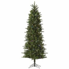 Carolina Pencil 7.5' Green Spruce Artificial Christmas Tree with 450 LED Multi-Colored Lights