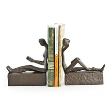 Man and Woman Reading Metal Bookends (Set of 2)