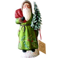 Schaller Paper Mache Candy Container Santa Green Coat with Tree