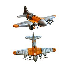 Collectible 2 Piece Decorative Tin Toy Plane Set