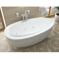 """Capricia 71"""" x 38.37"""" Oval Freestanding Whirlpool Jetted Bathtub"""