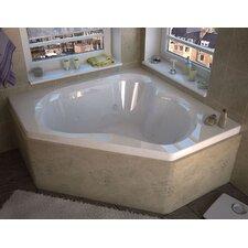 "Tobago 59.25"" x 59.25"" Corner Whirlpool Jetted Bathtub with Center Drain"