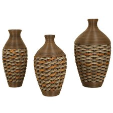 3 Piece Wicker Vase Set