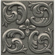 """Ambiance Insert Wave 4"""" x 4"""" Resin Tile in Pewter"""