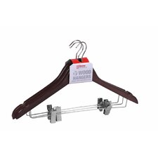 Wood Hanger with Metal Clips (Set of 6)