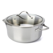 Contemporary Stainless Steel 6.5 Qt. Stock Pot with Lid