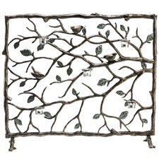 Bird and Branch Single Panel Aluminum Fireplace Screen