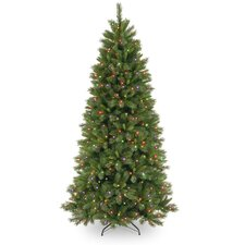 Lehigh Valley Pine 7.5' Green Slim Hinged Artificial Christmas Tree with 450 Colored & Clear Lights