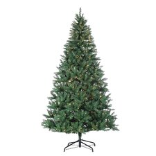 8' Green Hudson Pine Christmas Tree with 700 Clear Lights with Stand