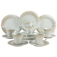 Soft Porcelain 18 Piece Dinnerware Set, Service for 6