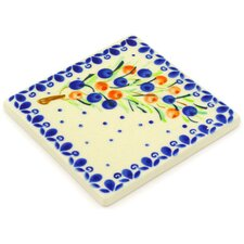"Polish Pottery 4.37"" x 4.37"" Engineered Stone Hand-Painted Tile in Glazed Blue/Cream"