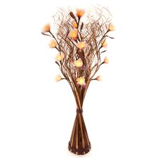 White Carnation in Brown and Cream Wave Vase
