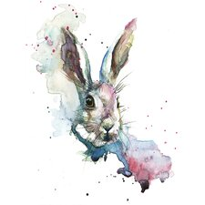 'March Hare' by Sarah Stokes Framed Watercolour Painting Print on Canvas