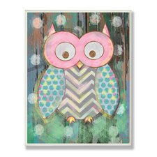 Stella Distressed Woodland Owl Canvas Wall Art