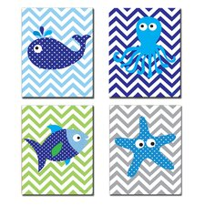 The Kids Room Sea Creatures with Chevron Quad 4 Piece Wall Plaque