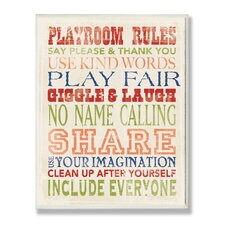The Kids Room Playroom Rules Typography Canvas Wall Art