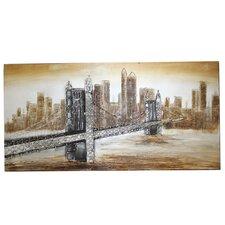 New York Bridge Hand Painted Contemporary Canvas Wall Decor