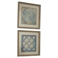 Stained Glass Indigo by Grace Feyock 2 Piece Framed Painting Print Set