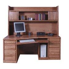 Computer Double Pedestal Computer Desk with Hutch