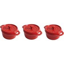 Arabella 0.25 Qt. Enameled Cast Iron Round Dutch Oven (Set of 3)