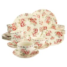 Stoneware Fragrance Rose 30 Piece Dinnerware Set, Service for 6